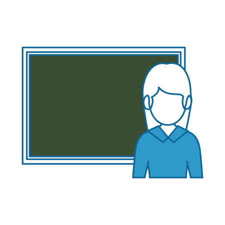Teacher woman with chalkboard avatar vector illustration design.
