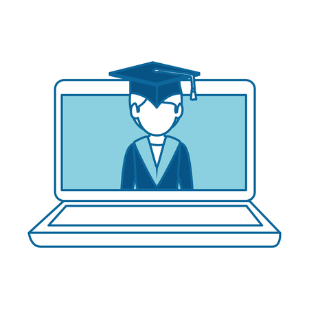laptop computer with graduated vector illustration design