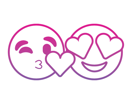 Faces in love heart eyes and kiss vector illustration degrade color line image.