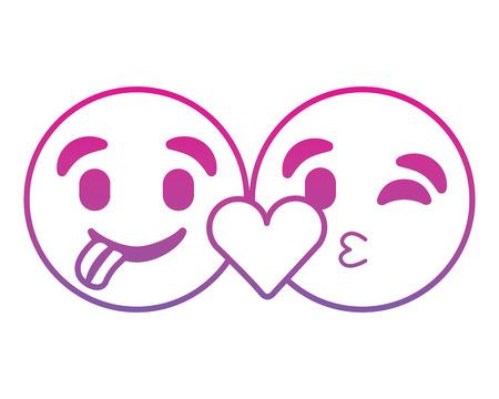 Emoticons faces tongue out and kiss vector illustration degrade color line image. Ilustração
