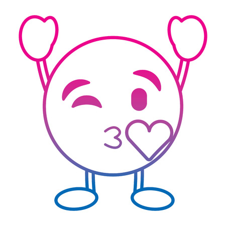 Emoticon cartoon face blowing a kiss love character vector illustration degrade color line image Illustration