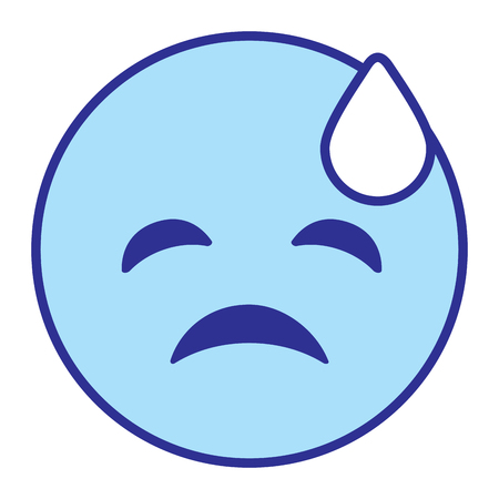Emoticon cartoon face depressive tear vector illustration blue design image