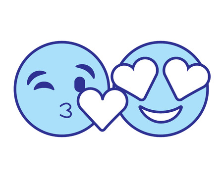 Faces in love heart eyes and kiss vector illustration blue design image Illustration