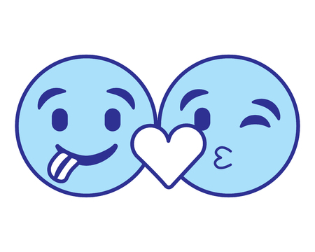 Emoticons faces tongue out and kiss vector illustration blue design image