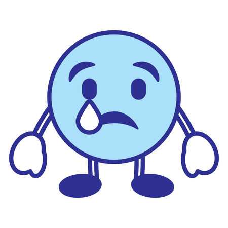 Emoticon cartoon face depressive tear character vector illustration blue design image