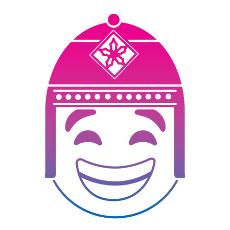Emoticon cartoon face with exotic hat vector illustration degrade color line image