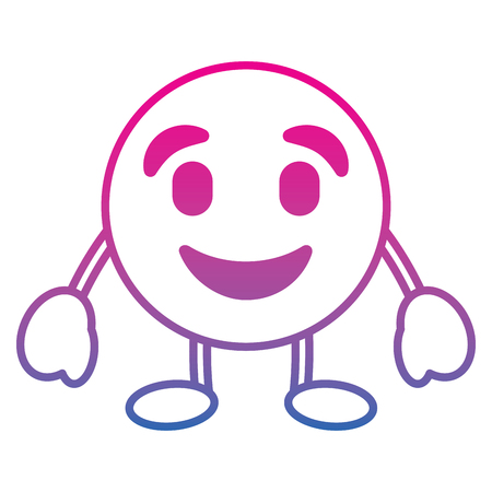Emoticon cartoon face happy character vector illustration degrade color line image