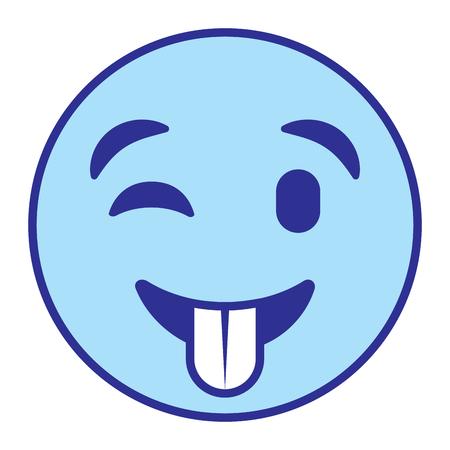 Cute smile emoticon tongue out vector illustration blue design image Vettoriali