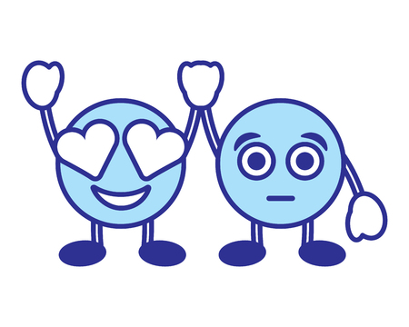 Cute smile emoticons in love and surprised character vector illustration blue design image