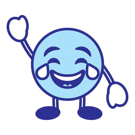 Emoticon cartoon face smiling with tears character vector illustration blue design image