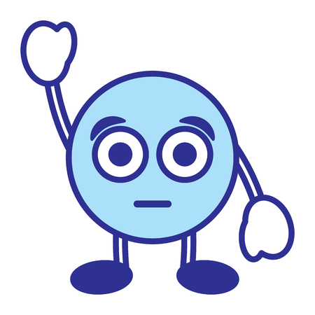 Emoticon cartoon face astonished character vector illustration blue design image Archivio Fotografico - 96373527