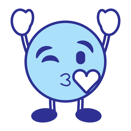 Emoticon cartoon face blowing a kiss love character vector illustration blue design image