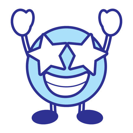 Emoticon cartoon face happy star eyes character vector illustration blue design image