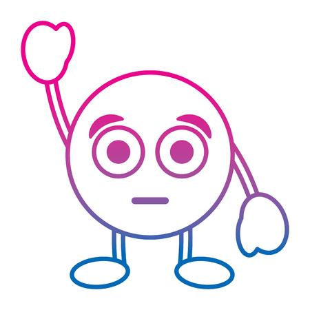 Emoticon cartoon face astonished character vector illustration degrade color line image