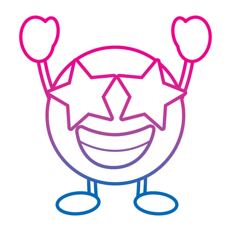 Emoticon cartoon face happy star eyes character vector illustration degrade color line image