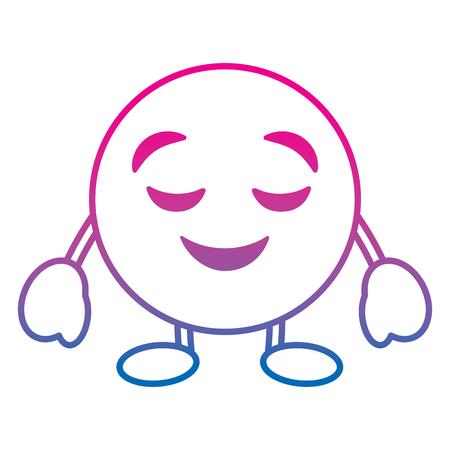 Emoticon cartoon face grinning closed eyes character vector illustration degrade color line image Archivio Fotografico - 96373730