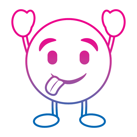 Emoticon cartoon face tongue out character vector illustration degrade color line image
