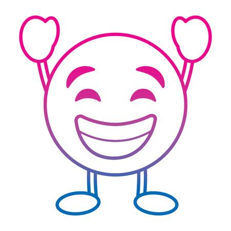 Emoticon cartoon face smiling happy character vector illustration degrade color line image