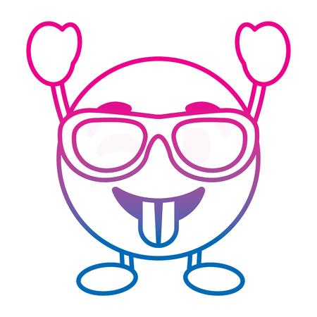 Emoticon cartoon face tongue out sunglasses character vector illustration degrade color line image