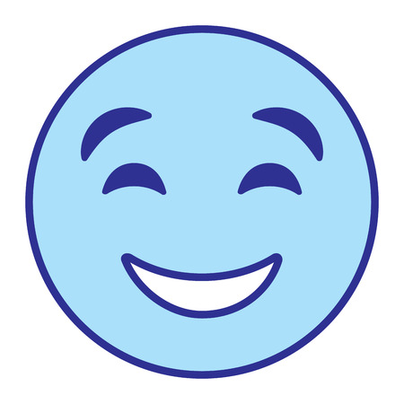 Cute smile emoticon happy close eyes vector illustration blue design image Illustration