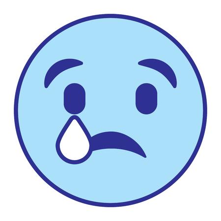 cute smile emoticon sad tear vector illustration blue design image Vettoriali