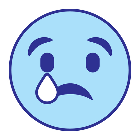 cute smile emoticon sad tear vector illustration blue design image Vectores