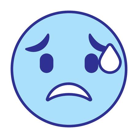 cute smile emoticon worried vector illustration blue design image