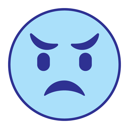 cute smile emoticon angry vector illustration blue design image Illustration