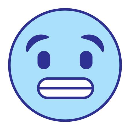 cute smile emoticon toothy smile vector illustration blue design image
