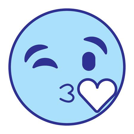 Emoticon cartoon face blowing a kiss love vector illustration blue design image. 向量圖像
