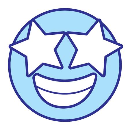 Emoticon cartoon face happy star eyes vector illustration blue design image. Illustration