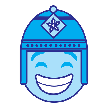Emoticon cartoon face with exotic hat vector illustration blue design image.