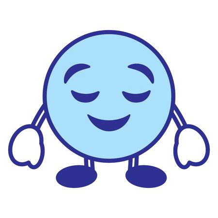 Emoticon cartoon face grinning closed eyes character vector illustration blue design image. Archivio Fotografico - 96332970