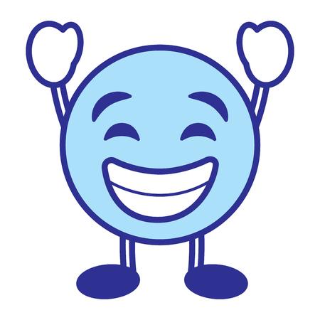 Emoticon cartoon face smiling happy character vector illustration blue design image.
