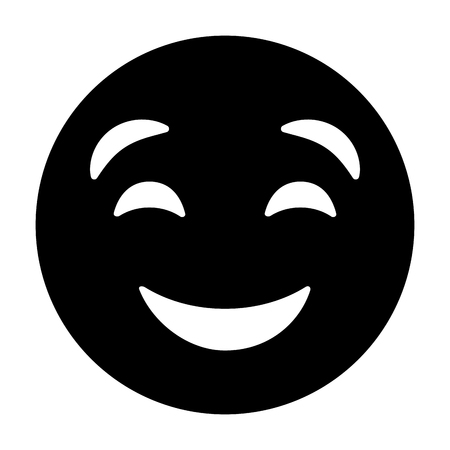 Cute smile emoticon happy close eyes vector illustration black and white image. Reklamní fotografie - 96333208