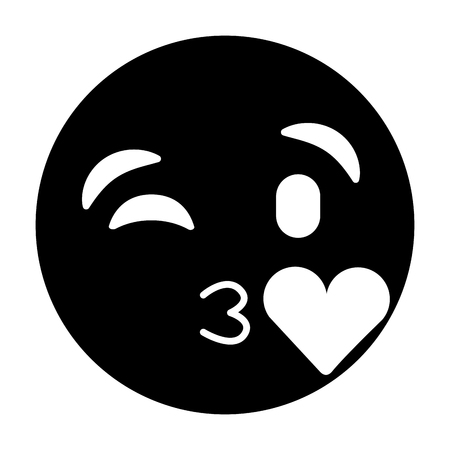 emoticon cartoon face blowing a kiss love vector illustration black and white image