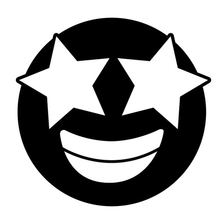 emoticon cartoon face happy star eyes vector illustration black and white image