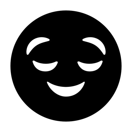purple emoticon cartoon face grinning closed eyes vector illustration black and white image