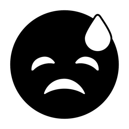 purple emoticon cartoon face depressive tear vector illustration black and white image