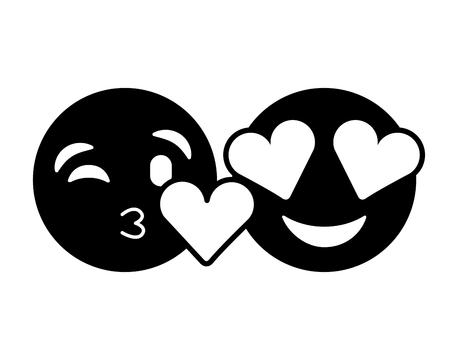 purple faces in love heart eyes and kiss vector illustration black and white image Çizim