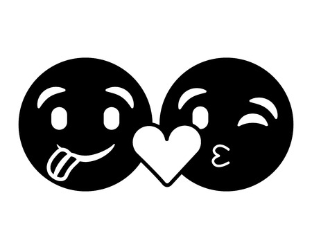 purple emoticons faces tongue out and kiss vector illustration black and white image Illustration