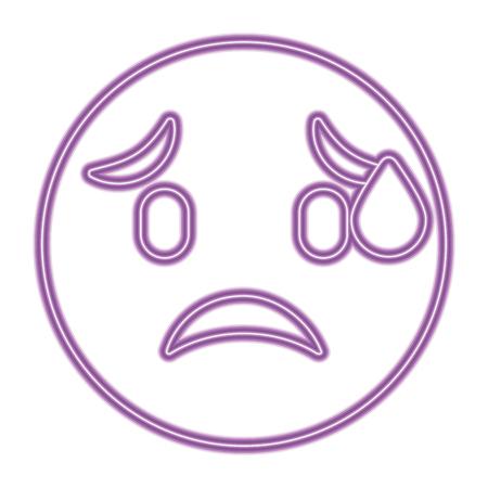 cute purple smile emoticon worried vector illustration purple neon image