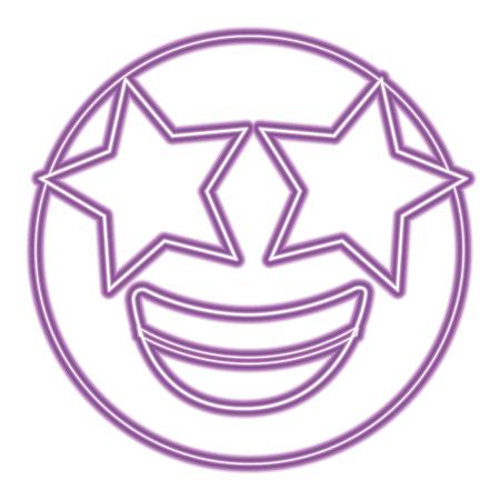 purple emoticon cartoon face happy star eyes vector illustration purple neon image Illustration