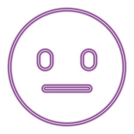 purple emoticon cartoon face speechless vector illustration purple neon image