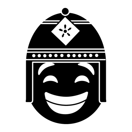purple emoticon cartoon face with exotic hat vector illustration black and white image