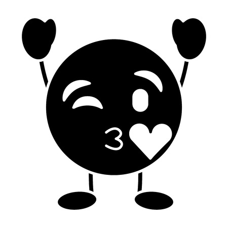 purple emoticon cartoon face blowing a kiss love character vector illustration black and white image