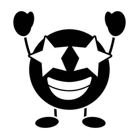 purple emoticon cartoon face happy star eyes character vector illustration black and white image Illustration