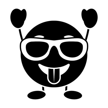 purple emoticon cartoon face tongue out sunglasses character vector illustration black and white image Ilustração