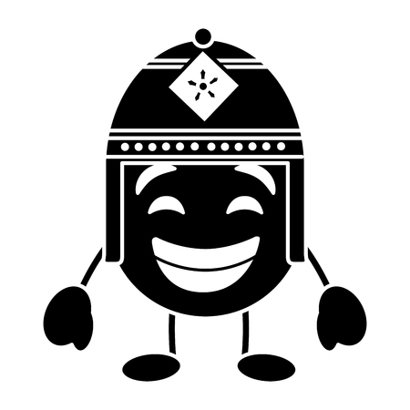 purple emoticon cartoon face with exotic hat character vector illustration black and white image
