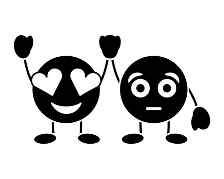cute purple smile emoticons in love and surprised character vector illustration black and white image Illustration